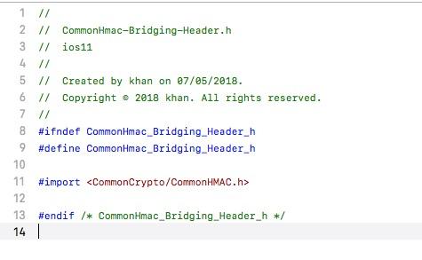 Commonhmac in swift xcode