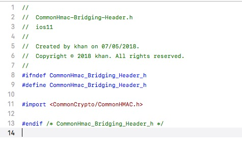 Commonhmac in swift xcode