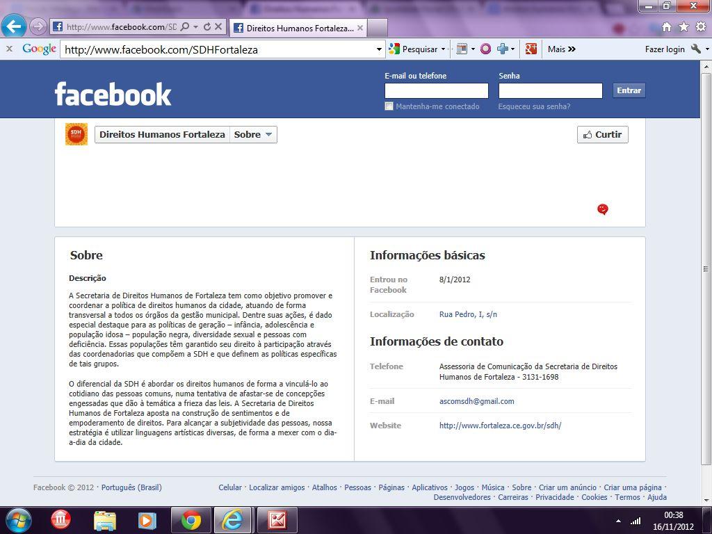Página http://www.facebook.com/SDHFortaleza/info