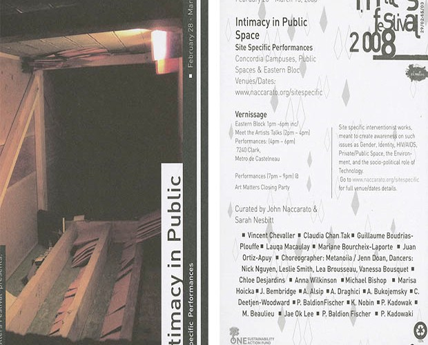 Intimacy in Public Space, Art Matters, Flyer, SQ Header, 2008