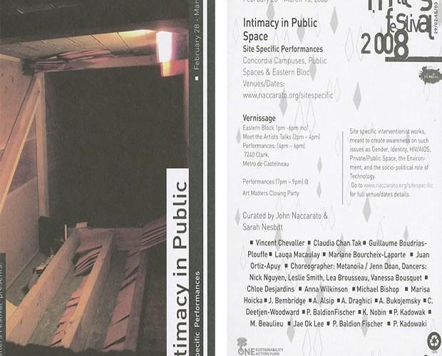 Intimacy in Public Space, Art Matters, Flyer, SQ Header, 2008