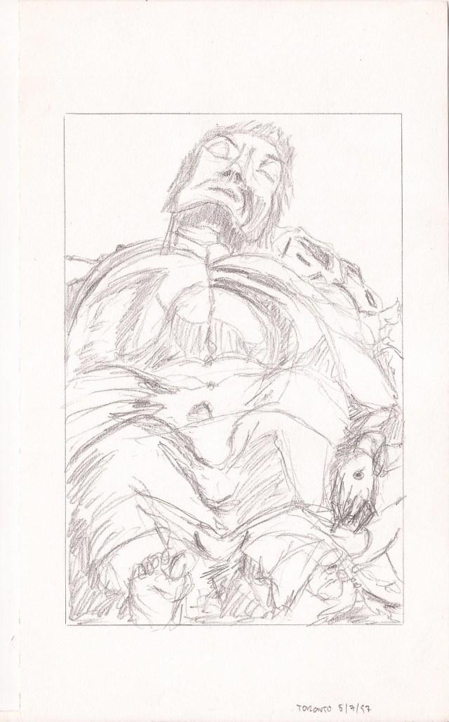Sketch #05, lead on Paper, 5″ x 8″, Toronto, Naccarato, 1996