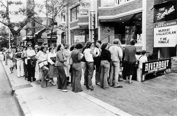 Yorkville, Toronto, 1960's, Lineup for the Riverboat Coffee House. Photo via York University Clara Thomas Archives.