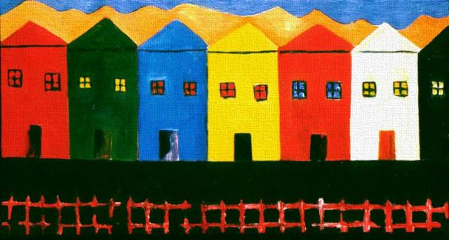"7 Houses, 2 Dogs and a Cat, Naccarato, Oil on Canavas, 24' x 36"", Toronto, 1998"