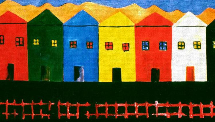 """7 Houses, 2 Dogs and a Cat, Naccarato, Oil on Canavas, 24' x 36"""", Toronto, 1998"""