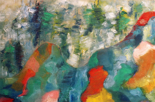 """Parc #04, parc lafontaine Series, oil on paper, 18"""" x 12"""", naccarato, Montreal, 2004"""