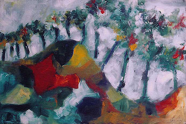 """Parc #05, parc lafontaine Series, oil on paper, 18"""" x 12"""", naccarato, Montreal, 2004"""
