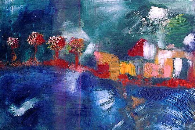"""Parc #07, parc lafontaine Series, oil on paper, 18"""" x 12"""", naccarato, Montreal, 2004"""