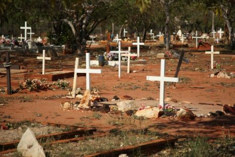 image of multiple white crosses marking graves in red dusty country