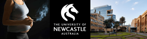 Photo Pregnant Aboriginal Woman smoking, University of Newcastle Logo & University of Newcastle exterior