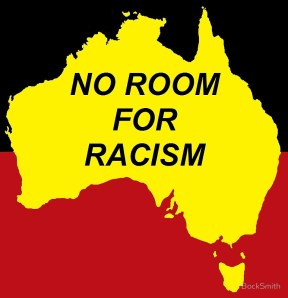 No Room for Racism words inside yellow map of Australia in centre of Aboriginal flag