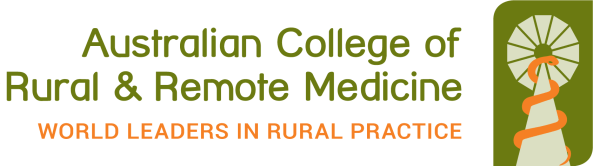 Australian College of Rural and Remote Medicine world leaders in rural practice logo, vector of orange snake wound around windmill