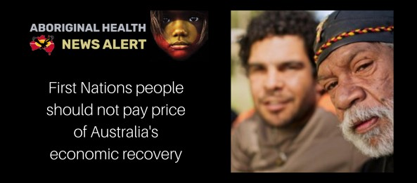 older Aboriginal man looking directly at camera with Aboriginal male youth in background - image from Diabetes Australia website