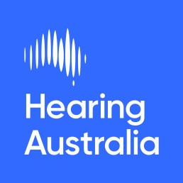 Hearing Australia logo - outline of Australia using soundwaves