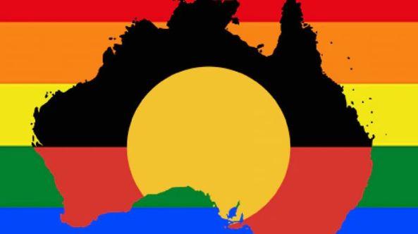 map of Australia as Aboriginal flag against gay flag