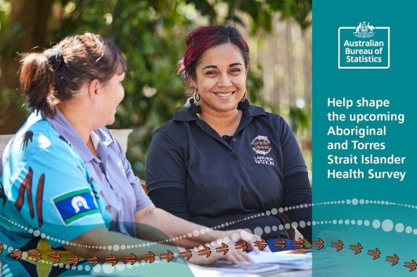 ABS tile 'help shape the upcoming ATSI Health Survey, two Aboriginal women sitting at outside table