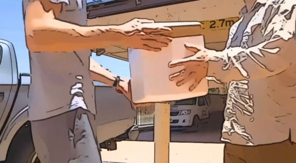 image from vaccine journey video. cartoon of cold box being handed between people