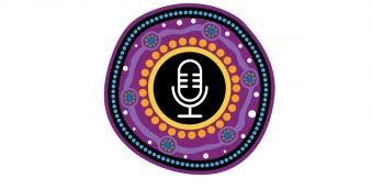 Healing Foundation Healing Our Way podcast logo - microphone drawing surrounded by purple, orange, blue & black Aboriginal dot painting
