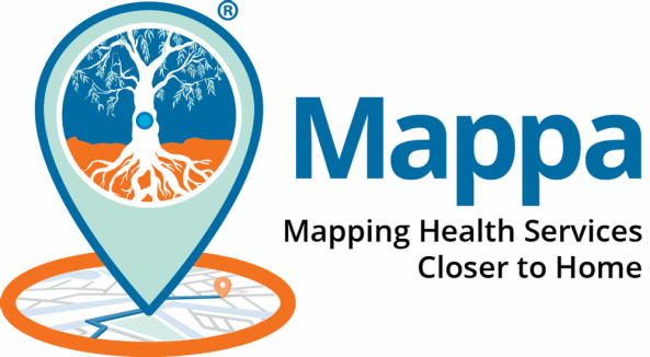Mappa Mapping Health Services Closer to Home banner with vector of tree and tree roots in a teardrop pointing to a place on a map