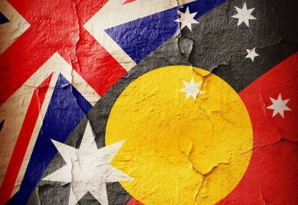 painting of Union Jack & Aboriginal flag overlaid with Southern cross stars with cracks throughout painting