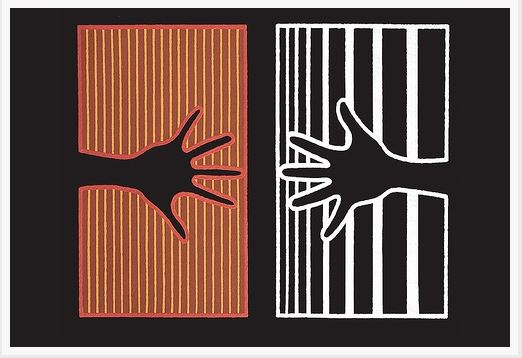 aboriginal painting of black hand against ochre stripes reaching out to black hand with white border against white and black stripes