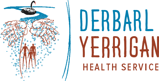Derbarl Yerrigan Health Service logo, black swan, silhouette of three Aboriginal people, outline of two Aboriginal hands in wings shape and falling blue circles