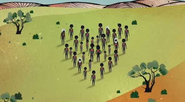 image from The Healing Foundation's Intergenerational Trauma Animation silhouette of Aboriginal approx. 40 silhouettes of Aboriginal people with red hearts standing against green country background in shape of a heart