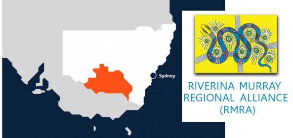 map of Riverina Murray Regional Alliance area & RMRA logo Aboriginal painting of a blue snake against yellow background