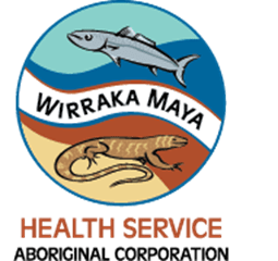 logo 'Wirraka Maya Health Service Aboriginal Corporation' circle fish, goanna, blue ochre