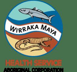 logo 'Wirraka Maya Health Service Aboriginal Corporation' circle fish, goanna, blue ochre