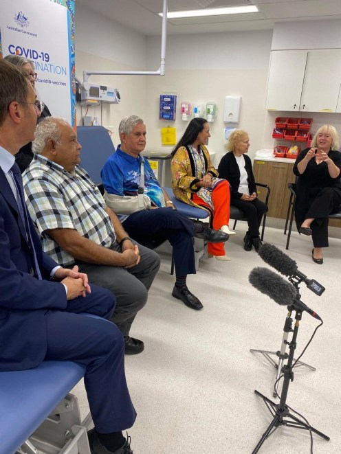 Ken Wyatt, Linda Burney & Tom Calma in waiting room at WNAHS ACT to receive vaccine 24.3.21