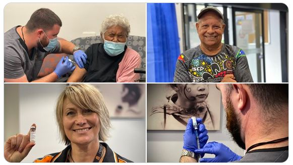 4 photos, elderly Aboriginal woman screwing up face as gets vaccine, smiling middle-aged Aboriginal mad, health worker holding vaccine vial, rear view of health professional with gloves drawing vaccine from vial