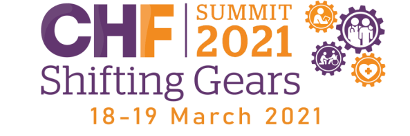 banner text 'CHF Summit 2021 Shifting Gears 18–19 March 2021', orange and purple for cogs with vector medical images