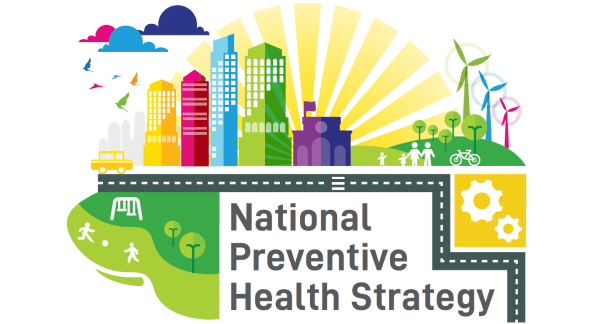 banner with text National Preventive Health Strategy' vector images of city, wind farm, clouds, park, city, road