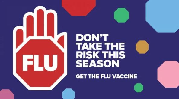 banner text ' don't take the risk this season get the fle vaccine' vector image of read hand with the word 'flu' superimposed, background purple with octagons of varying sizes & colours red, yellow, green, pink & blue