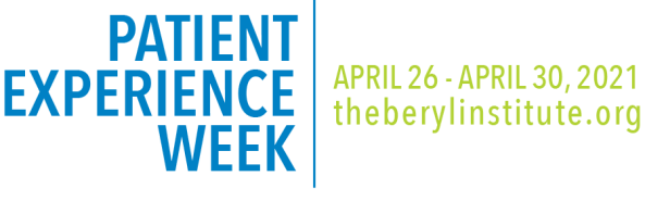 banner text 'patient experience week in blue & 'april 26 - April 20, 2021 theberylinstitute.org' in green font