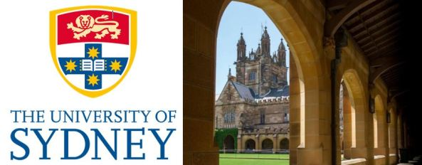 Sydney University logo vector image of lion against red rectangle & blue cross with yellow star on each cross end with open book in the middle inside yellow outline of a shield, text 'THE UNIVERSITY OF SYDNEY' & photo of sandstone uni building seen from arched sandstone walkway