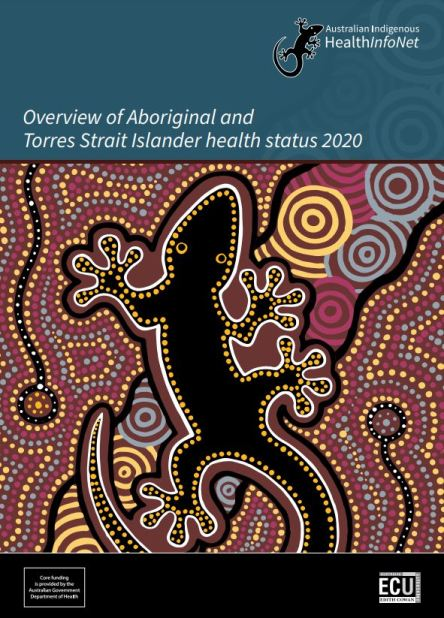 cover of report text ' Overview of A&TSI health status 2020' Australian Indigenous HealthInfoNet' - Aboriginal dot painting of goanna - colours black, yellow, wide, blue, pink, blue