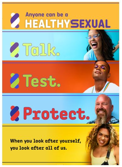 banners from WA Healthy Sexual Campaign text 'anyone can be a Healthy Sexual, Talk, Test, Protect, When you look after yourself, you look after all of us' talk has a photo of a girl with glasses & very broad smile, test has a photo of a man with eyeshadow with hands holding rainbow coloured braces, protect has bald man with goaty beard & hawaiian shirt, last slide has a young smiling woman with long wavy golden hair