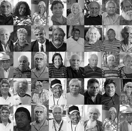black & white collage of 40 portrait shots of Stolen Generations survivors