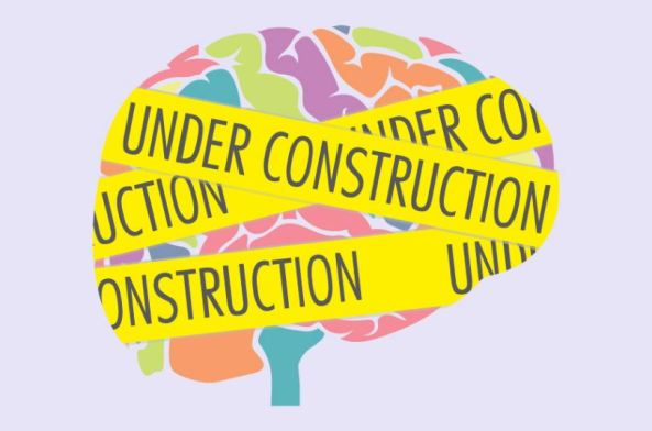 vector of brain wrapped in yellow tape with text 'UNDER CONSTRUCTION'