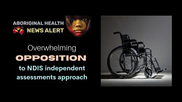 feature tile text 'overwhelming opposition to NDIS independent assessments approach' black & white photo of a an empty wheelchair in room without furniture