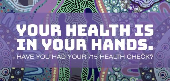 slide from 715 Health Check - Awabakal Case Study YouTube video, purple Aboriginal art overlaid with text 'Your Health is in Your Hands. Have you had your 715 health check?'