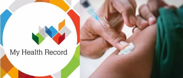 My Health Record logo & image of arm being vaccinated