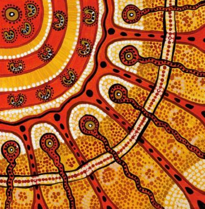 Aboriginal dot painting in roange yeallow white black tan by Roma Winmar 2015