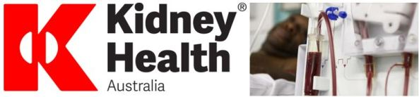 Kidney Health Australia logo large letter 'K' with elongated half circles in white either side of the join of the 'K', blurred image of Aboriginal man in the background & blood flowing through dialysis machine