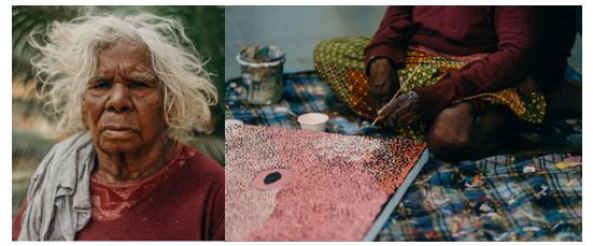 portrait of Mulyatingki Marney & photo of her from waist down sitting painting