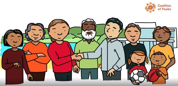 snapshot from CoP priority 1 shared decision making partnerships animation 6 Aboriginal people, 4 women, 2 men, 2 children (boy & girl; centre Aboriginal woman shaking hands with an offical; top right CoPs logo