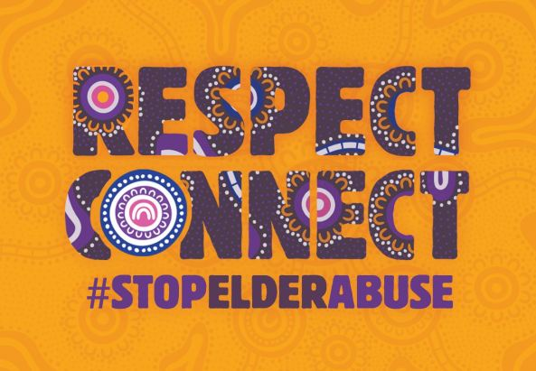banner text 'respect connect #stopelderabuse' golden yellow background, purple text with Aboriginal art blue, purple, pink, lavender, golden yellow