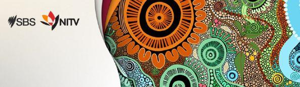 banner sbs & NITV logo & Aboriginal art colours orange, aqua, black, blue